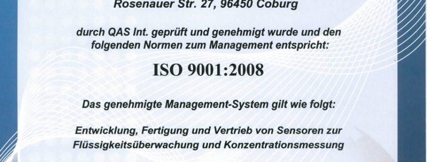 Zertifikat ISO9001:2008 2016