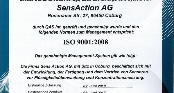 Zertifikat ISO9001:2008 2017
